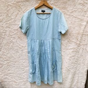 Topshop Chambray Short Sleeve Babydoll Dress
